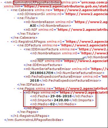 SII - Régimen especial de criterio e caja - XML pago