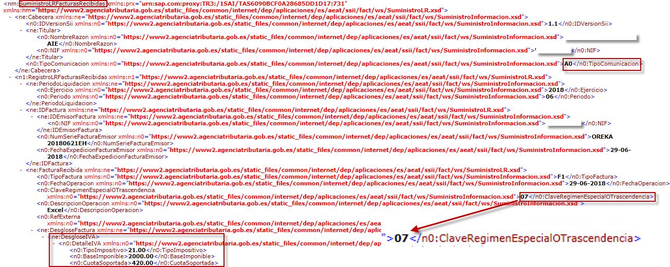 SII - Régimen especial de criterio e caja - fichero XML
