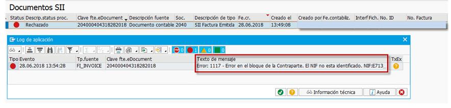 SII - TRATAMIENTO ERROR 11161117 GESTION DEL NIF EN SAP - Error