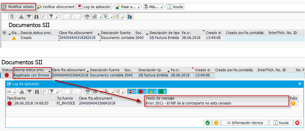 SII - TRATAMIENTO ERROR 11161117 GESTION DEL NIF EN SAP - Factura registrada con errores