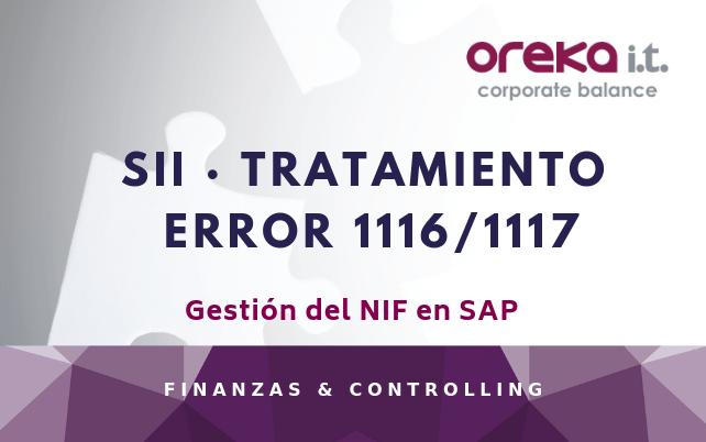 SII · Tratamiento error 1116/1117: Gestión del NIF en SAP