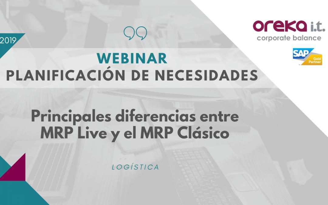 Webinar · Planificación de necesidades: principales diferencias entre MRP Live y MRP clásico de SAP