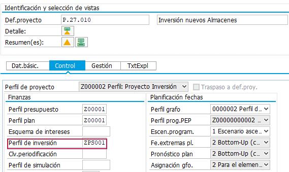 SAP PS Project System – Proyecto de Inversión - Perfil de la inversión