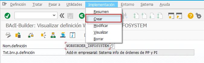Añadir campos a la transacción estándar - BADI - WORKORDER_INFOSYSTEM