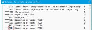 Manual Traducciones de Elementos de Texto en Reports SE63 - Selección de tipos de objetos 2