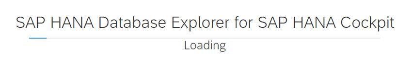 SAP HANA COCKPIT 2 - database explorer