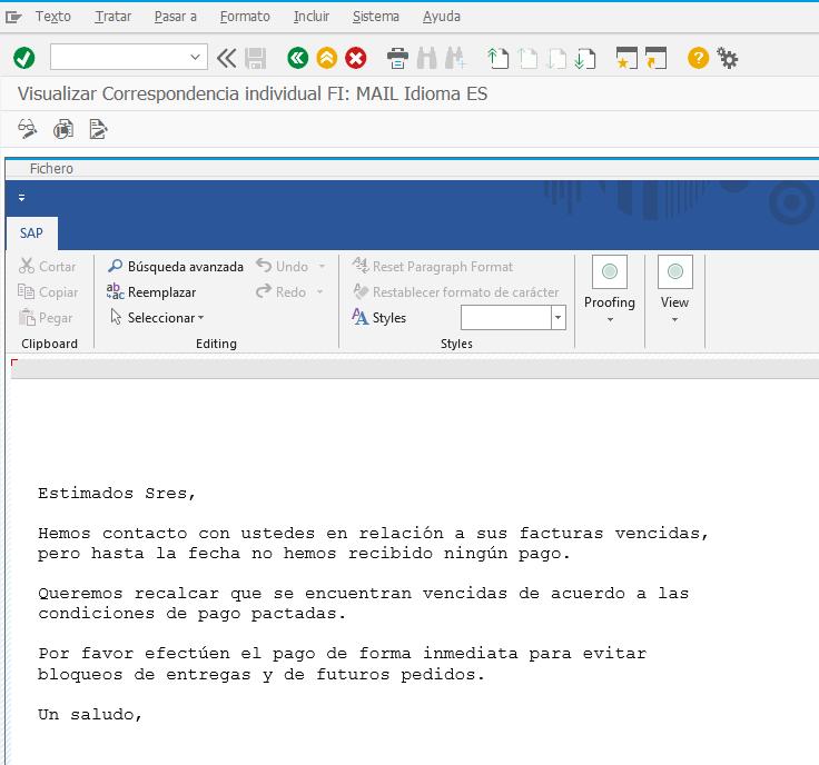 reclamacion de facturas emitidas y no pagadas SAP FI - email cuerpo