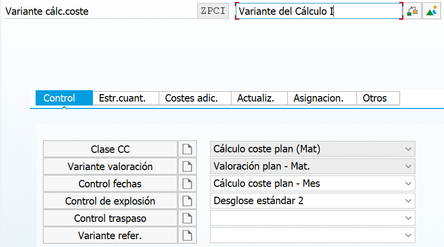 Variante de calculo de coste
